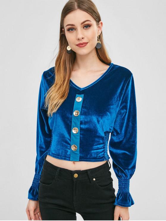 Shirred Buttoned Velvet Top - الطاووس الأزرق حجم واحد