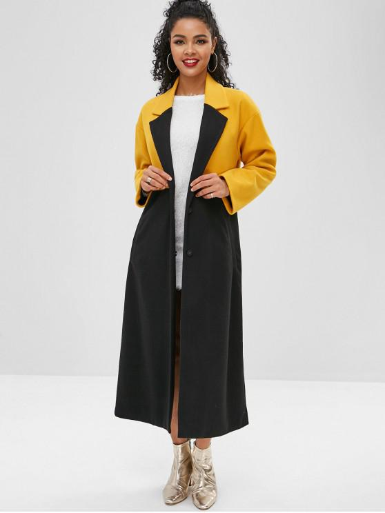 lady Color Block Longline Drop Shoulder Coat - YELLOW M