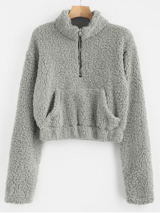 ladies Half Zip Fluffy Faux Shearling Teddy Sweatshirt - GRAY CLOUD S