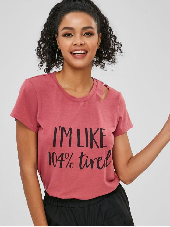 chic Cut Out Letter Graphic T-shirt - TULIP PINK L