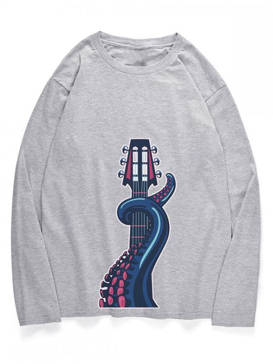 T-Shirt A Girocollo Con Motivo Di Polpo - Nuvola Grigia S