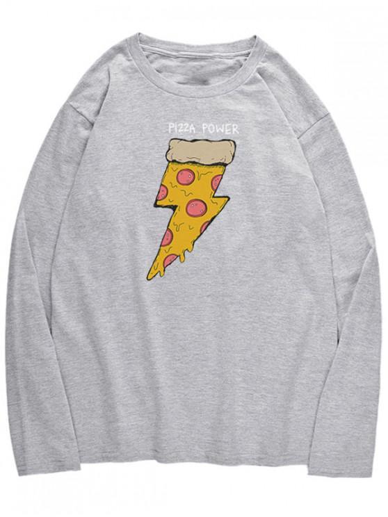T-Shirt A Maniche Lunghe Con Motivo Di Pizza - Nuvola Grigia M