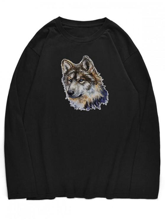 T-Shirt A Girocollo Con Motivo Di Lupo - Nero M