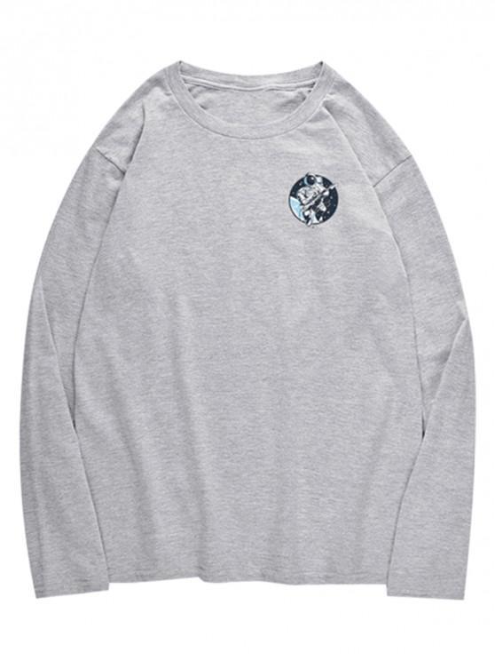 new Crew Neck Astronaut Pattern T-shirt - GRAY CLOUD S