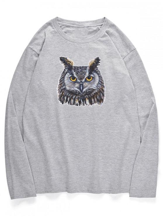 women Crew Neck Owl Pattern T-shirt - GRAY CLOUD XS