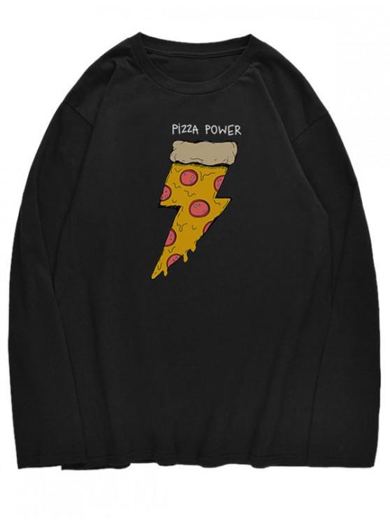 fashion Long Sleeve Pizza Print T-shirt - BLACK S