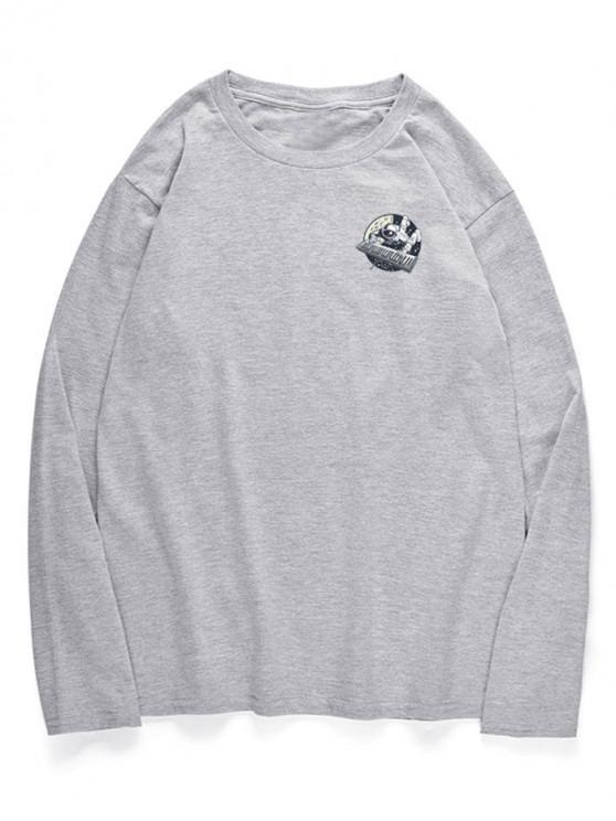 T-Shirt A Girocollo Con Motivo Di Piano E Astronauta - Nuvola Grigia XS