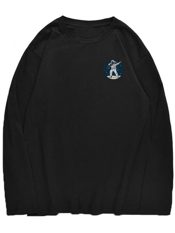 unique Astronaut Dancing Pattern Crew Neck T-shirt - BLACK M