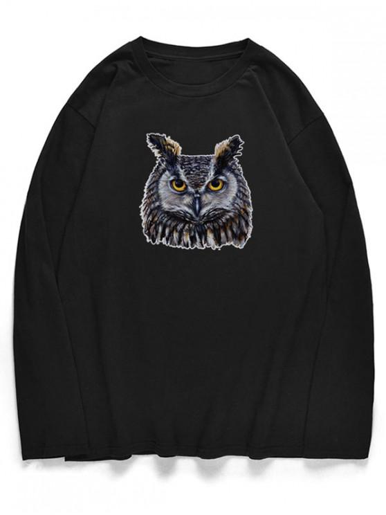 buy Crew Neck Owl Pattern T-shirt - BLACK S