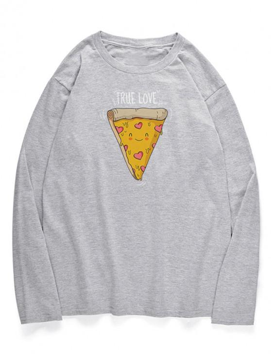 lady Crew Neck Cute Cartoon Pizza Pattern T-shirt - GRAY CLOUD XS