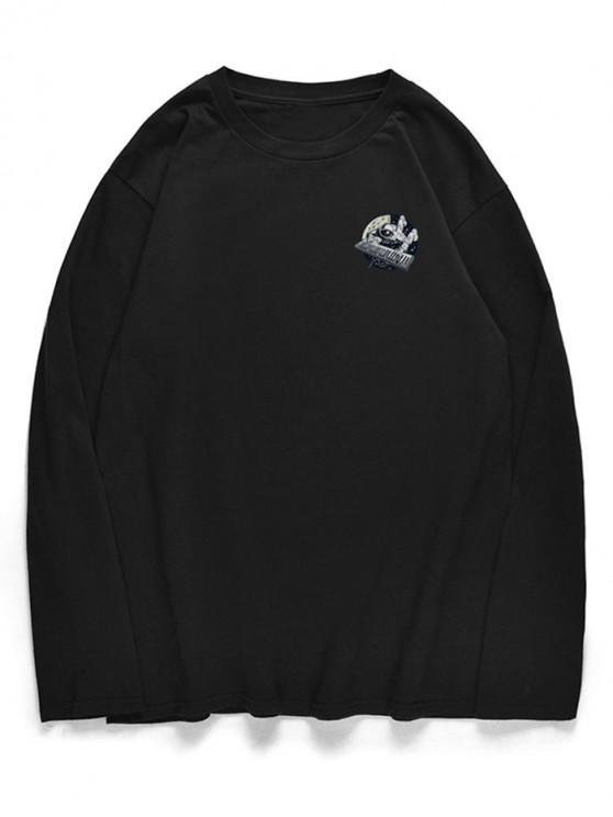 ladies Crew Neck Astronaut Piano Pattern T-shirt - BLACK XS