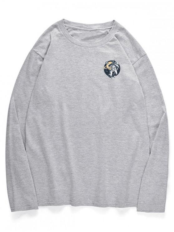 T-Shirt A Maniche Lunghe Con Motivo D'astronauta Fotografando - Nuvola Grigia XS