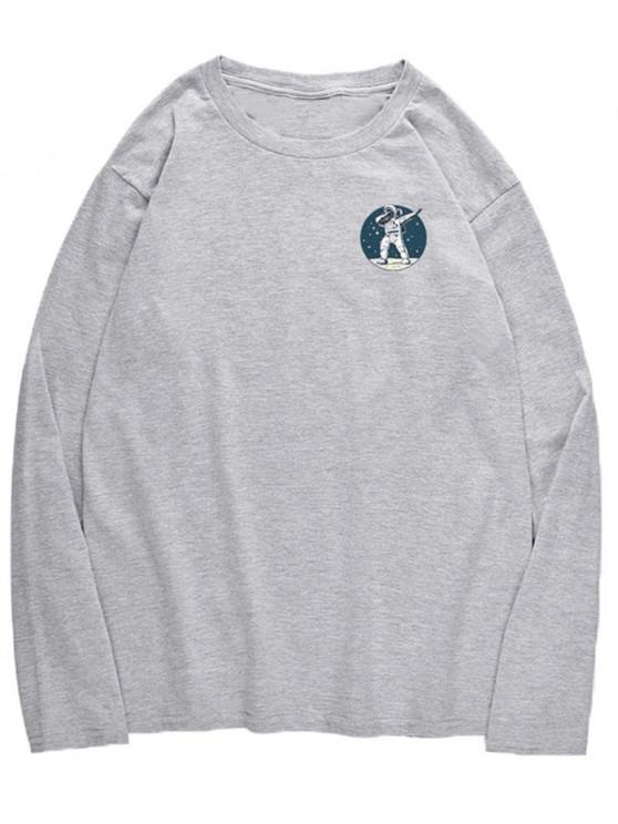 shops Astronaut Dancing Pattern Crew Neck T-shirt - GRAY CLOUD S