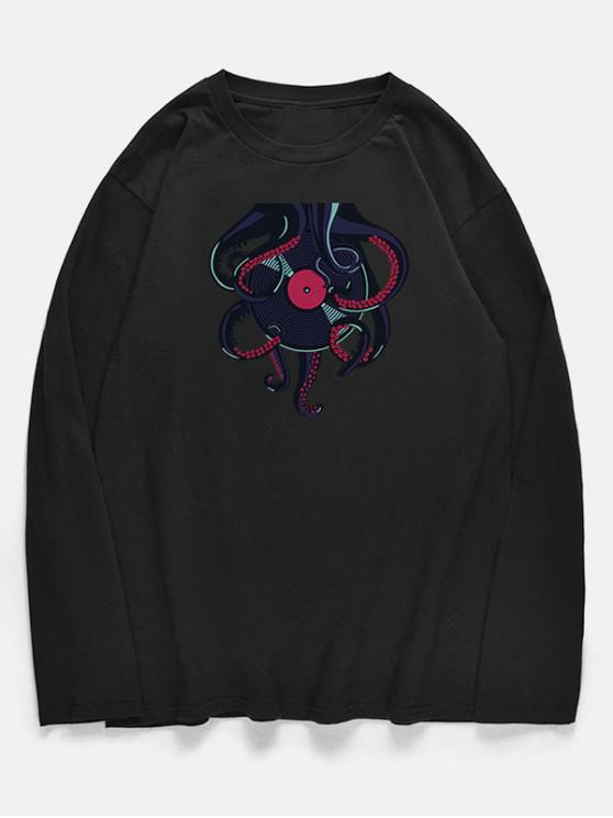 chic Crew Neck Octopus Recording Disc Pattern T-shirt - BLACK XS