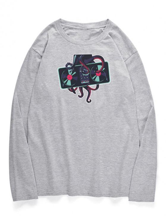 women's Crew Neck Octopus Printed T-shirt - GRAY CLOUD S