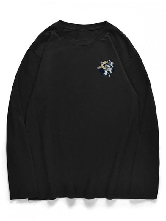 T-Shirt A Maniche Lunghe Con Motivo D'astronauta Fotografando - Nero XS