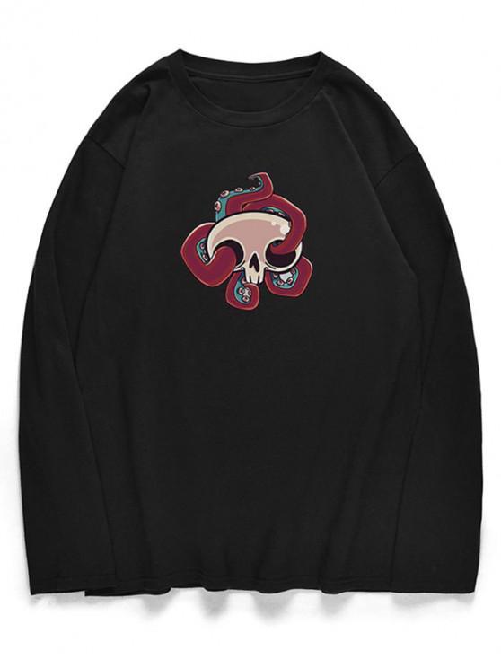 buy Long Sleeve Cartoon Octopus Pattern T-shirt - BLACK M