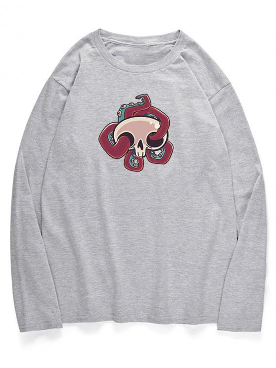 trendy Long Sleeve Cartoon Octopus Pattern T-shirt - GRAY CLOUD XS