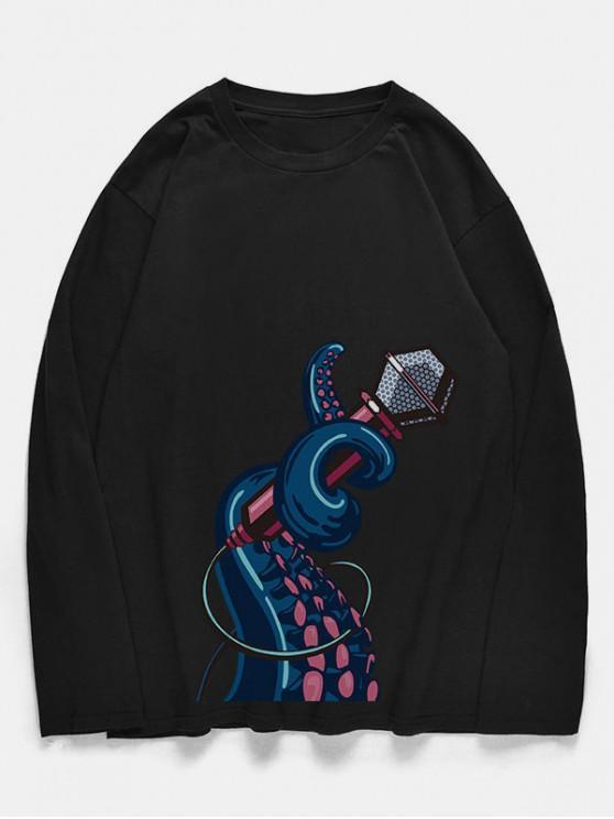unique Crew Neck Octopus Microphone Pattern T-shirt - BLACK M