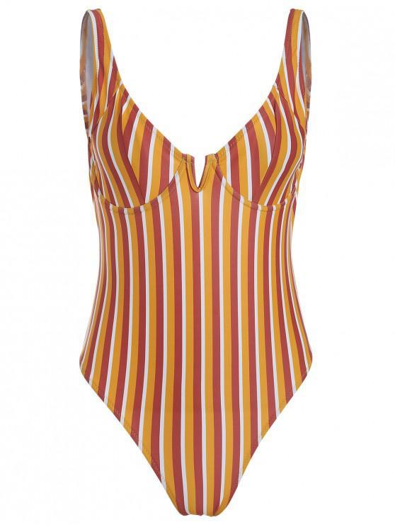 ZAFUL Colorful Stripe Underwire One Piece Swimsuit - Multicolor-B M