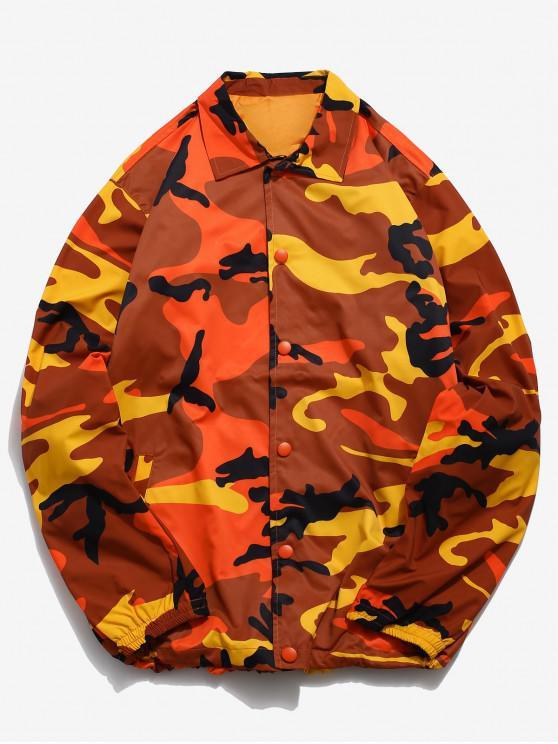 shop Camo Snap Button Windbreaker Jacket - TIGER ORANGE 2XL