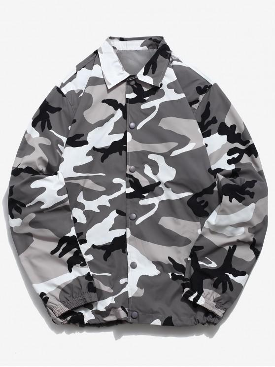 sale Camo Snap Button Windbreaker Jacket - GRAY L