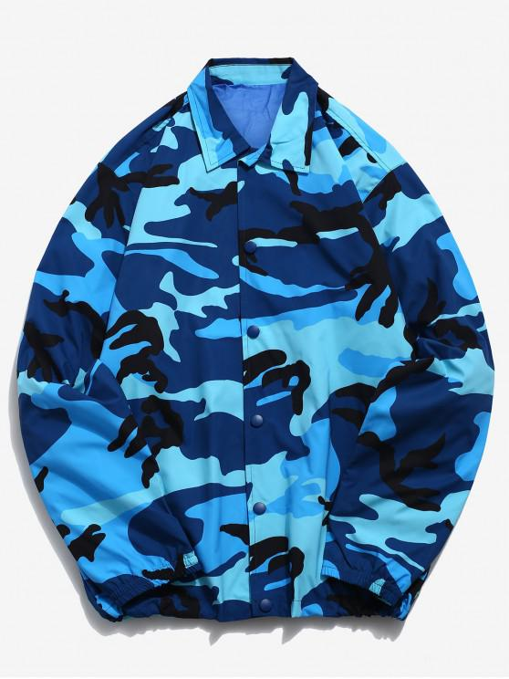 shop Camo Snap Button Windbreaker Jacket - BLUE 3XL