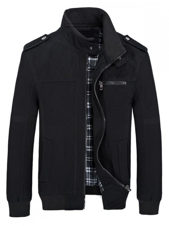 women's Stand Collar Pockets Casual Jacket - BLACK M