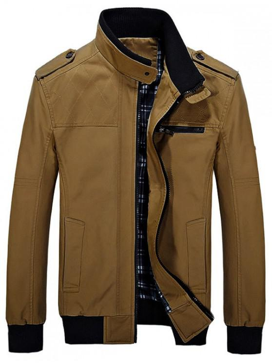lady Stand Collar Pockets Casual Jacket - WOOD S