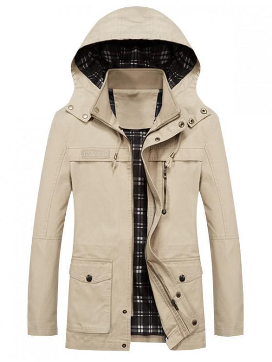 fashion Solid Waist Drawstring Pockets Jacket - SAND M