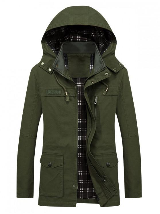 fancy Solid Waist Drawstring Pockets Jacket - ARMY GREEN XS