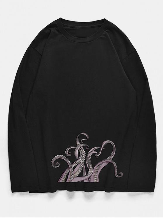 new Crew Neck Octopus Print Pullover T-shirt - BLACK XS