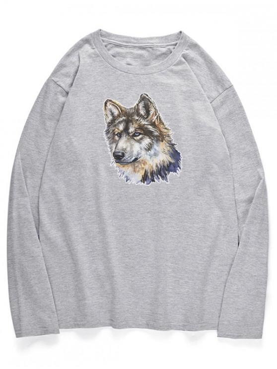 hot Crew Neck Wolfhound Pattern T-shirt - GRAY CLOUD XS