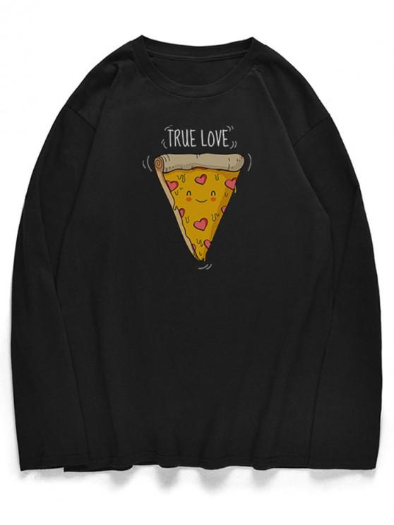 shops Crew Neck Cute Cartoon Pizza Pattern T-shirt - BLACK XS