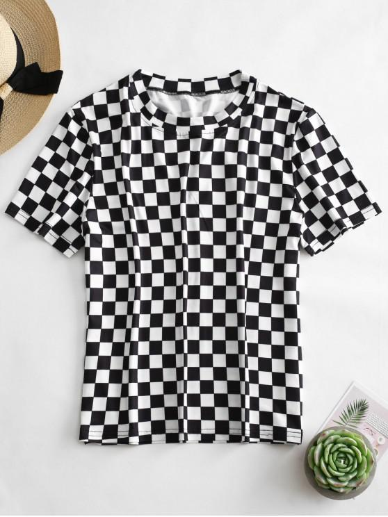 outfits ZAFUL Short Sleeve Checkered Tee - MULTI S
