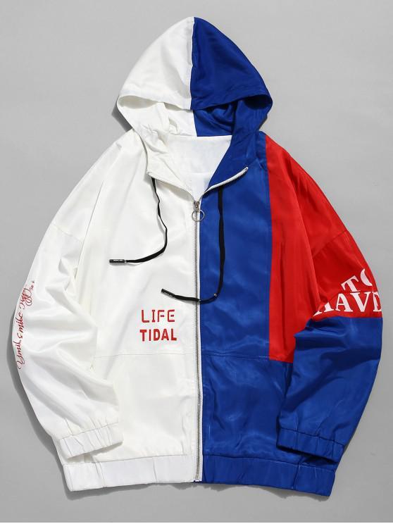 shops Contrast Patchwork Letter Windbreaker Jacket - WHITE L
