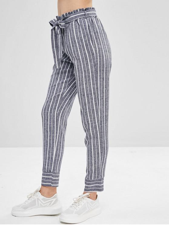 lady Belted Striped High Waisted Tapered Pants - DEEP BLUE L