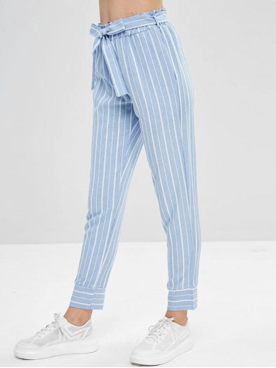 ladies Belted Striped High Waisted Tapered Pants - LIGHT BLUE L