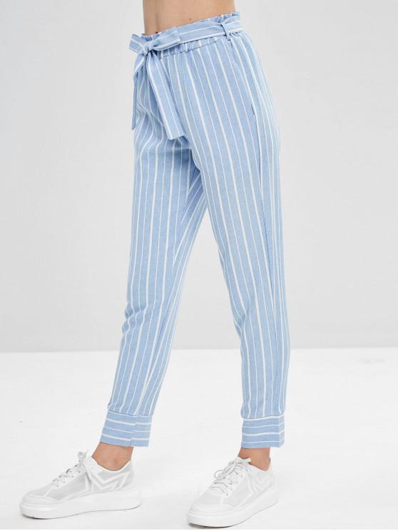 Pantalon Fuselé Rayé Ceinturé à Taille Haute - Bleu Léger  S