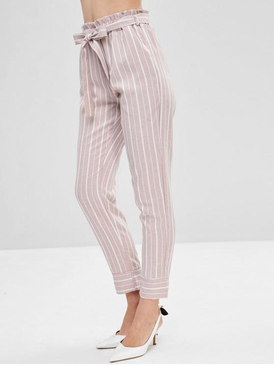 best Belted Striped High Waisted Tapered Pants - LIPSTICK PINK L