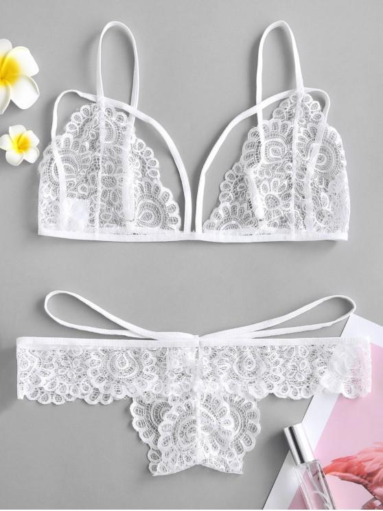 aa23012776789 31% OFF   HOT  2019 Sheer Lace Strappy Bra And Panty Lingerie Set In ...