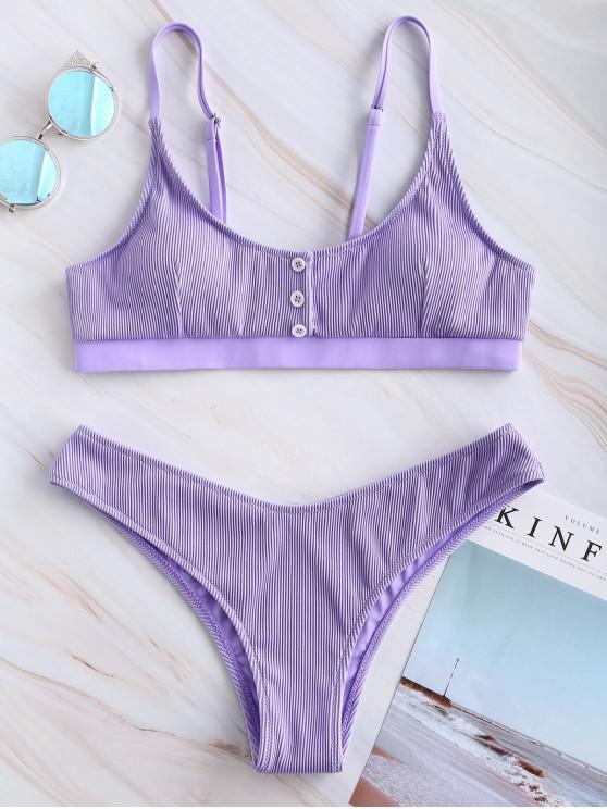best ZAFUL Buttoned Textured Ribbed Bikini Set - PURPLE MIMOSA M