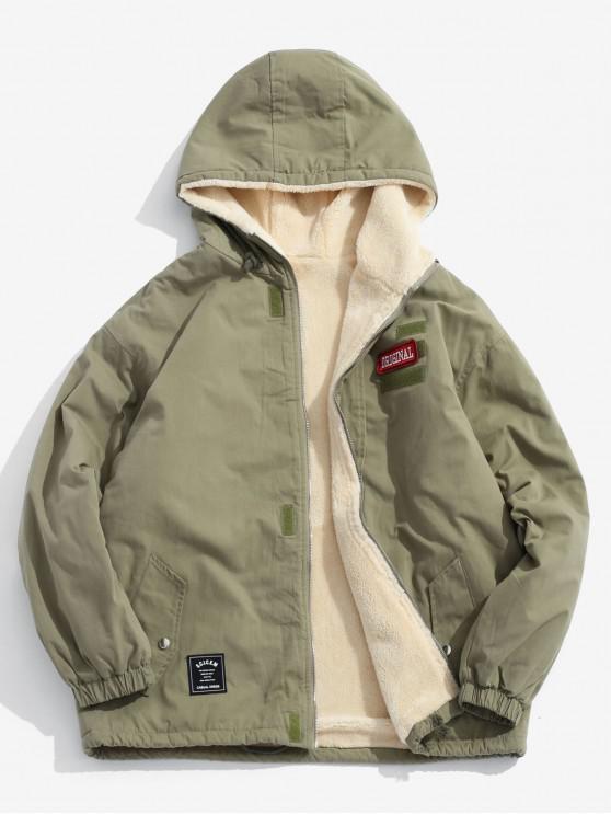 trendy Applique Zip Up Hooded Coat - ARMY GREEN 2XL
