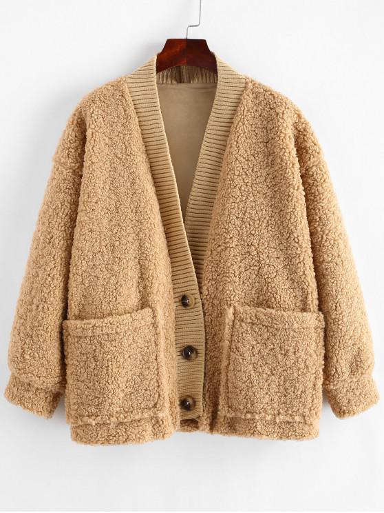 shops Fluffy Drop Shoulder Pocket Teddy Jacket - SANDY BROWN ONE SIZE