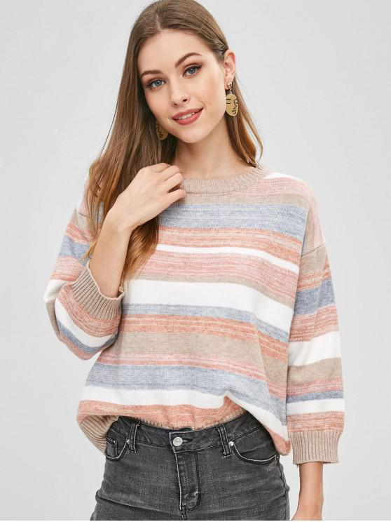 47a9a4058b3 28% OFF   NEW  2019 Loose Colorful Striped Sweater In MULTI