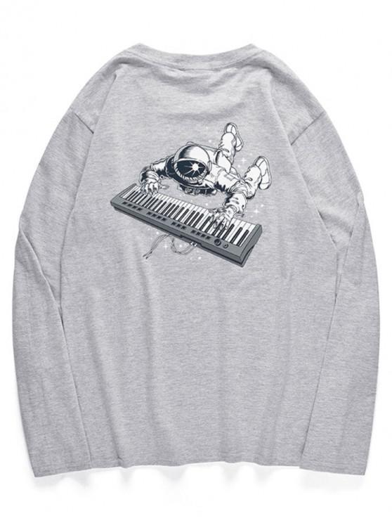 women's Crew Neck Astronaut Piano Pattern T-shirt - GRAY CLOUD S