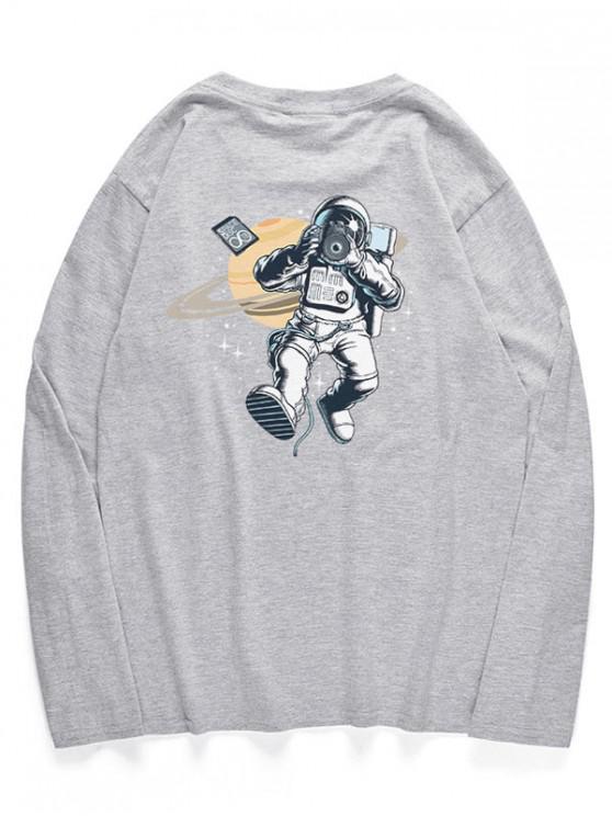 fancy Long Sleeve Astronaut Taking Photo Pattern Tee - GRAY CLOUD S