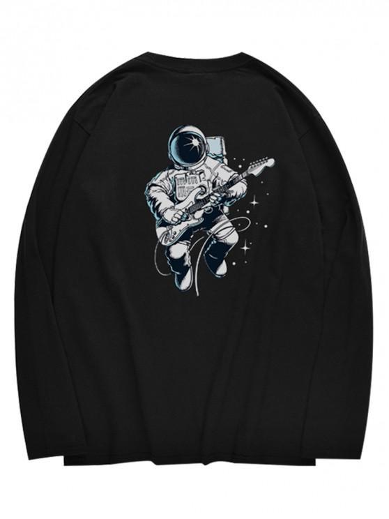 latest Crew Neck Astronaut Pattern T-shirt - BLACK XS