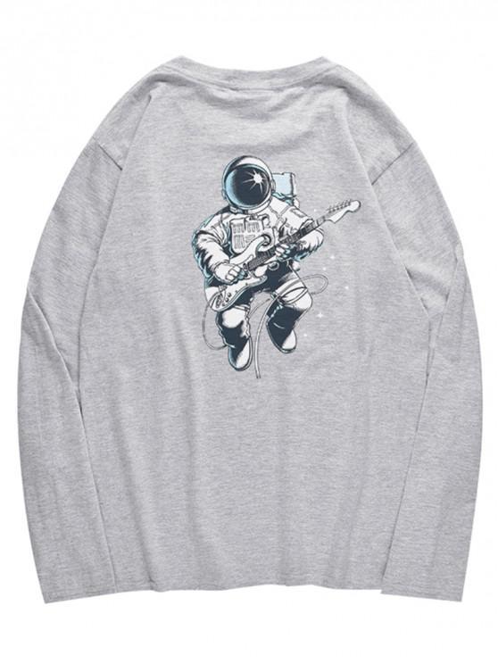 Camiseta con patrón de astronauta de cuello redondo - Nube Gris M