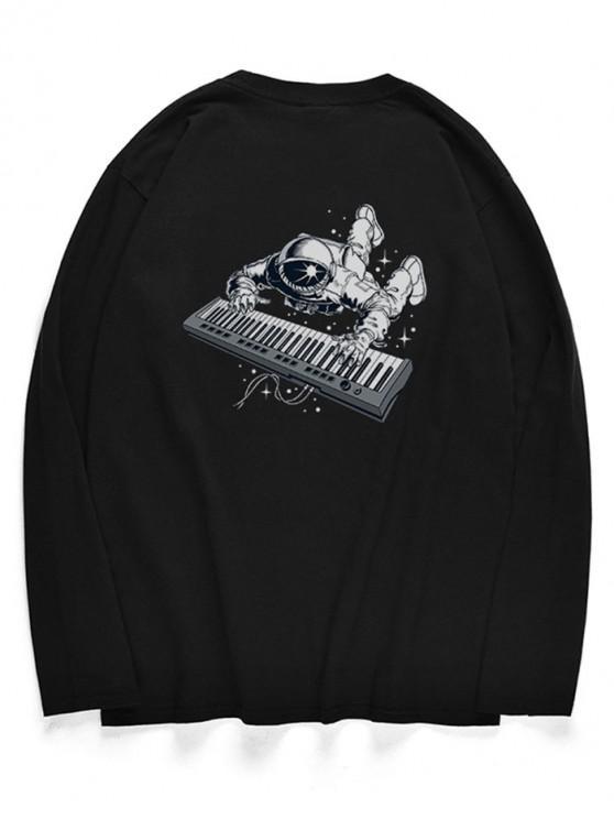 Camiseta con patrón de piano de astronauta de cuello redondo - Negro S